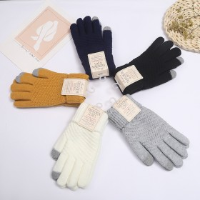 手套女冬季加绒加厚韩版防寒可爱骑行触屏保暖毛线针织