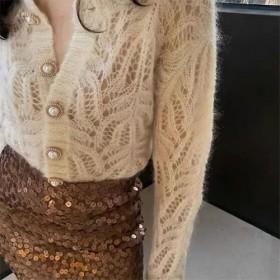 新款秋冬开衫毛衣外套镂空珍珠气质针织时尚百搭上衣女