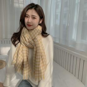 千鸟格围巾女冬季2021新款仿羊绒韩版东大门加厚围