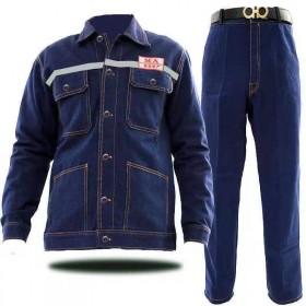 牛仔服劳保工作服套装男防烫防高温加厚耐磨牛仔裤子
