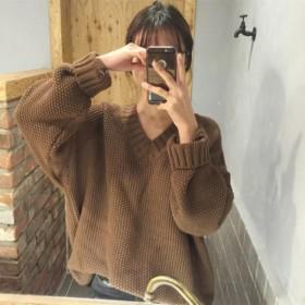 复古v领厚针织少女外搭宽松毛衣女秋季上衣