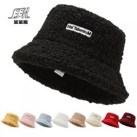 桶帽子女冬季羊羔毛保暖刺绣字母渔夫帽日式休闲逛街旅