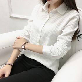 纯棉白衬衫女长袖条纹韩版无领立领娃娃领百搭衬衣