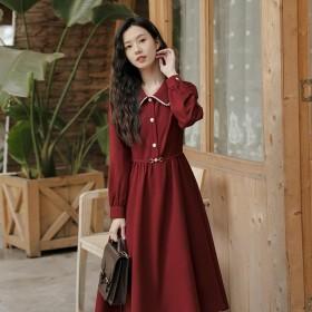 法式赫本风气质收腰显瘦中长款长袖衬衫连衣裙