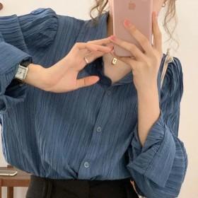 盐系复古褶皱长袖衬衫女法式气质翻领百搭小众衬衣上衣