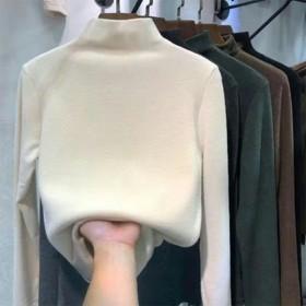 双面德绒半高领打底衫女秋冬加绒纯色内搭长袖上衣早秋
