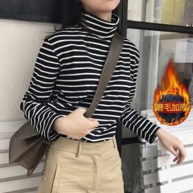 秋冬加厚条纹高领打底衫女2021秋韩版内搭长袖T恤