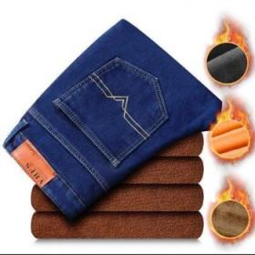 弹力男士牛仔裤厚款加绒加厚秋冬季休闲男裤高腰直筒裤