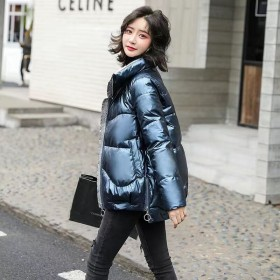 【AAA】亮面羽绒棉服女2021新款外套面包服立领