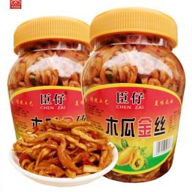 湖南木瓜丝香辣酱菜广西农家下饭菜400gx2瓶咸菜