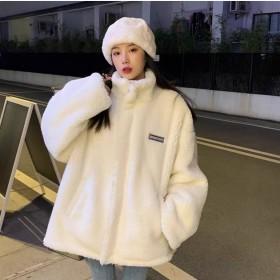立领羊羔毛加厚棉衣棉服外套女2021秋冬季宽松卫衣
