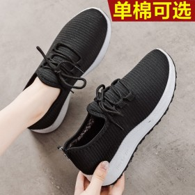 单棉秋冬季新款加绒女鞋老人健步鞋老北京布鞋女妈妈棉