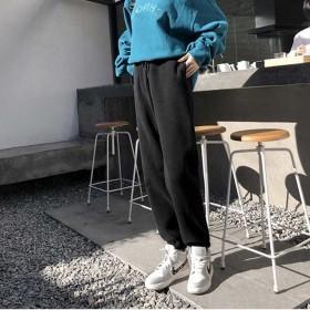 加绒灰色束脚运动裤子女宽松显瘦加厚韩版卫裤外穿