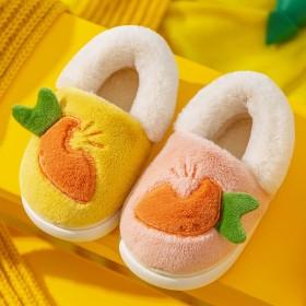 冬季新款男童女童居家防滑卡通可爱小中包跟棉拖鞋